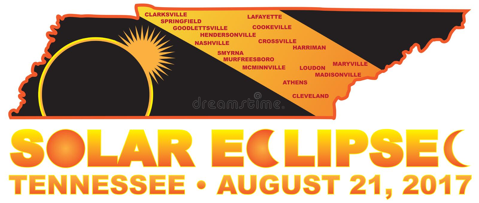 2017 Solar Eclipse Across Tennessee Cities Map vector Illustration vector illustration