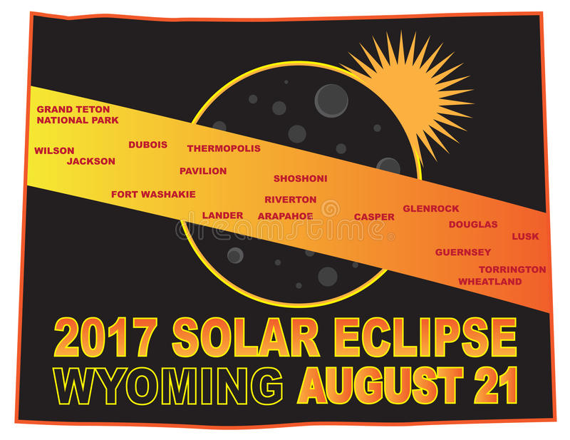 2017 Solar Eclipse Across Wyoming Cities Map vector Illustration stock illustration
