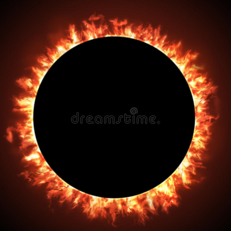 Solar eclipse. Of a black hole sun in deep space, the moon contrasts the sun