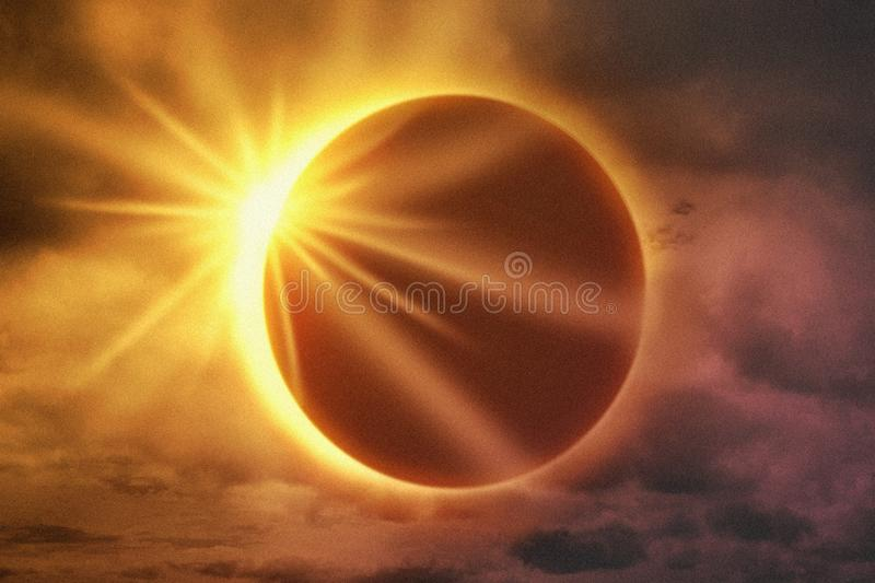 Solar eclipse with clouds in the sky and sun flare. Solar eclipse with clouds in the sky and orange sun flare royalty free stock images