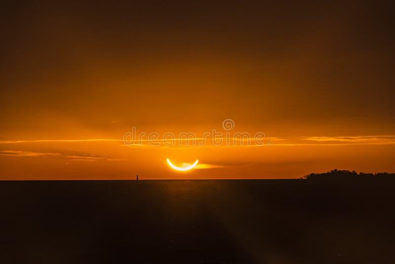 Solar eclipse 2019, Colonia del Sacramento, Uruguay stock photos