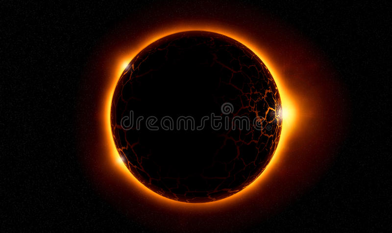 Solar eclipse. Illustration of the rocky planet with lava rivers in front of the sun
