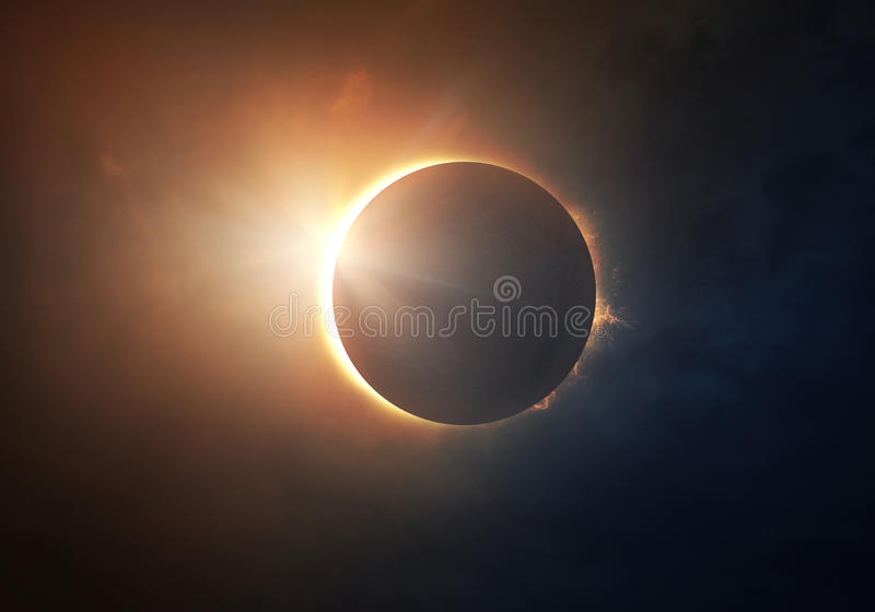 Solar Eclipse. The moon covers the sun in a beautiful solar eclipse
