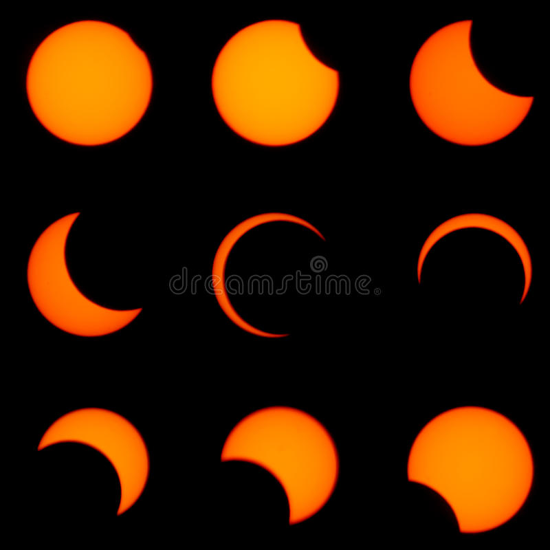 Solar eclipse. A Solar Eclipse occured on May.21,2012,in Japan stock photos