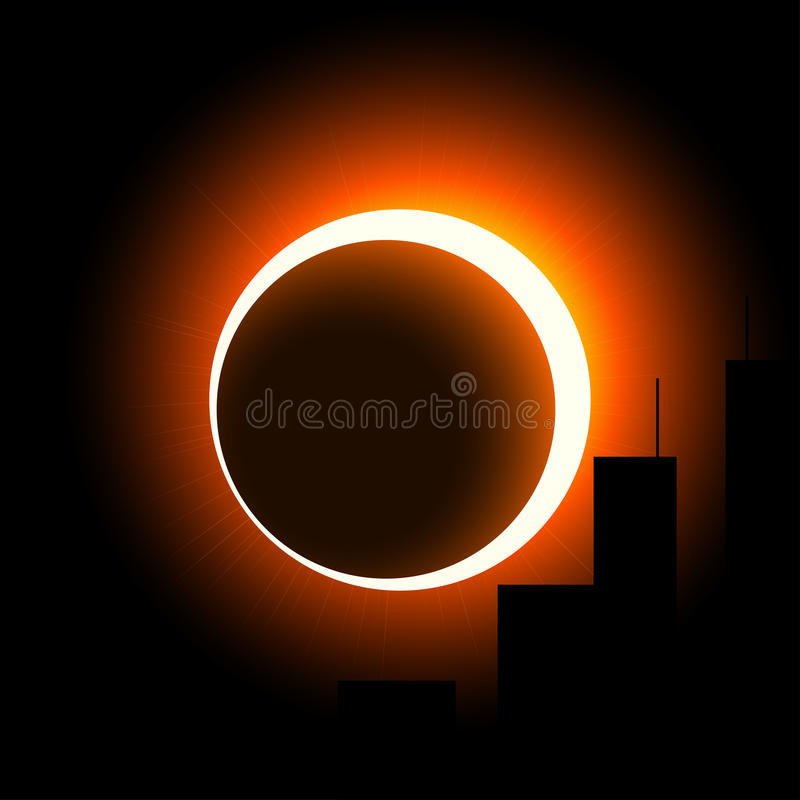 A solar eclipse over the city. The crown of the sun is visible around the moon. Orange on black. stock illustration