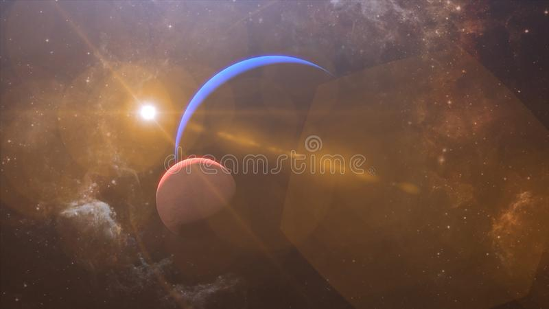 Solar Eclipse over Neptune Planet. Big, blue planet Neptune and rising sun over. Realistic High quality 4K animation, silhouette f. Ull mysterious planet stock images