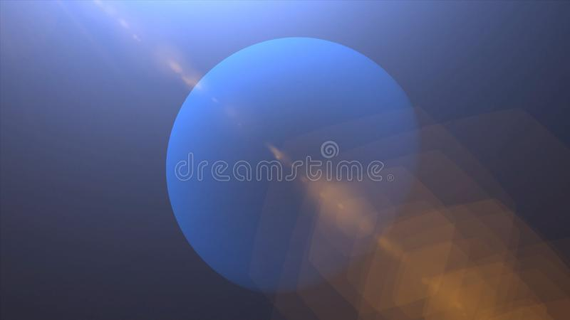 Solar Eclipse over Neptune Planet. Big, blue planet Neptune and rising sun over. Realistic High quality 4K animation, silhouette f. Ull mysterious planet stock image