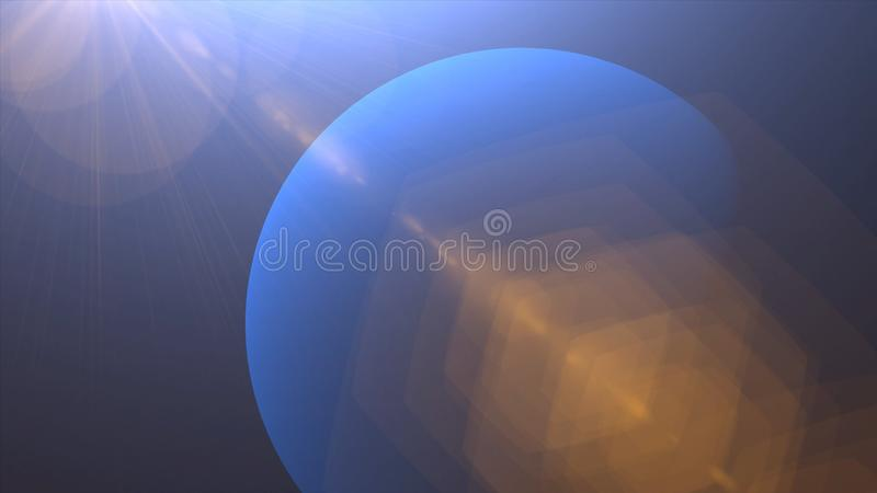 Solar Eclipse over Neptune Planet. Big, blue planet Neptune and rising sun over. Realistic High quality 4K animation, silhouette f. Ull mysterious planet royalty free stock images