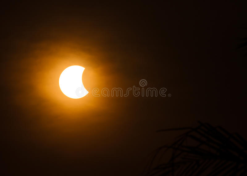 Solar eclipse. Phenomenon of solar eclipse on March 9, 2016, Ubon Ratchathani, Thailand stock images
