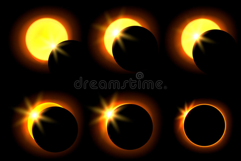 Solar eclipse in six different phases. Astronomical phenomenon of the closing of the shining sun by the moon. royalty free illustration