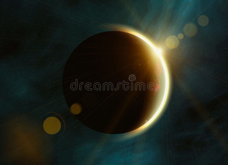 Solar eclipse on space stars backgrounds royalty free illustration