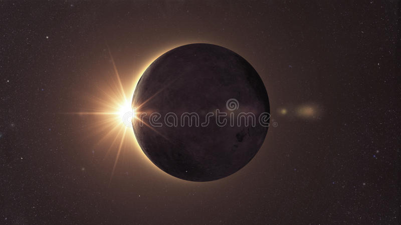 Solar eclipse. Eclipse of the sun, Solar eclipse with sun glow vector illustration