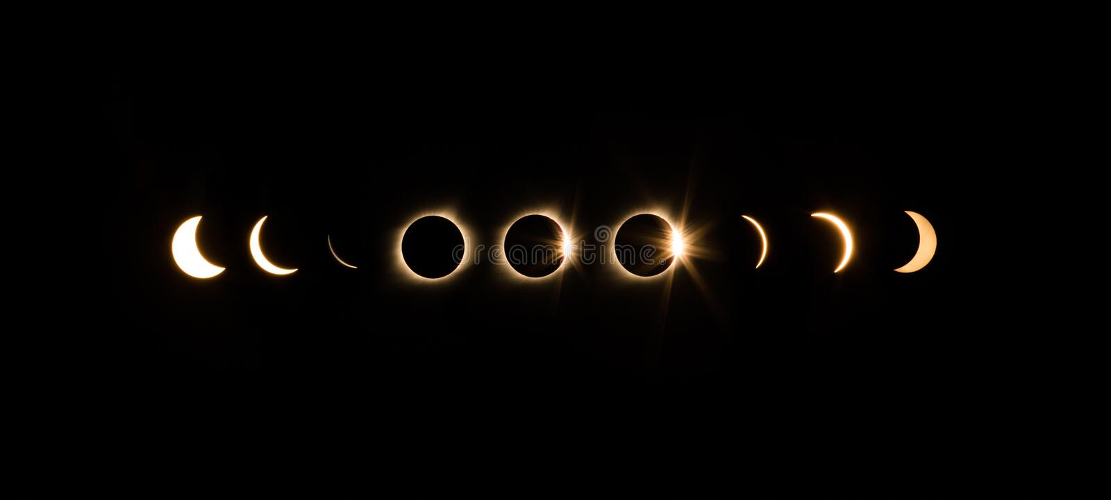 Solar Eclipse. Time laps of solar eclipse stock photography