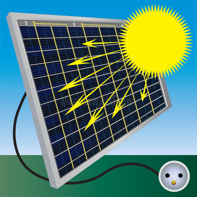 Solar electric power. Solar electric panel produce electricity. Color illustration stock illustration