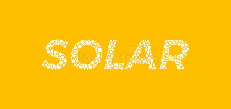 Solar em letras da bolha no fundo amarelo imagens de stock royalty free