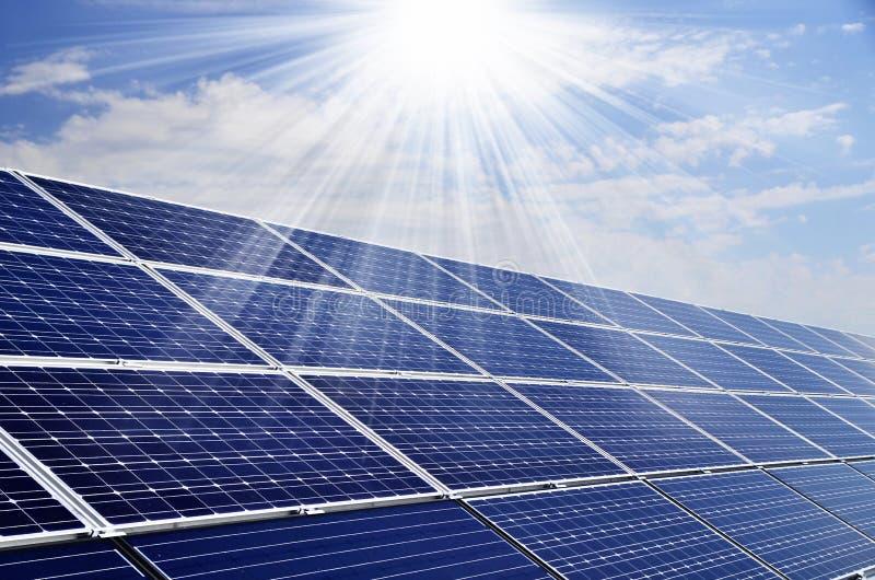Solar energy. Power plant using renewable solar energy with sun stock photography