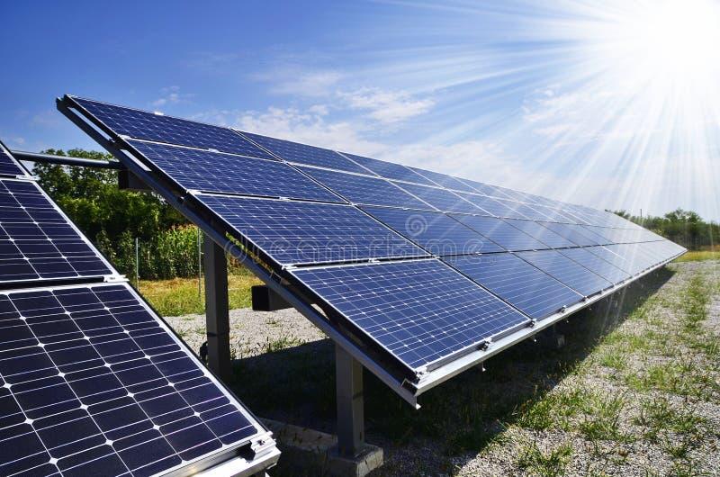 Solar energy. Power plant using renewable solar energy with sun royalty free stock photos