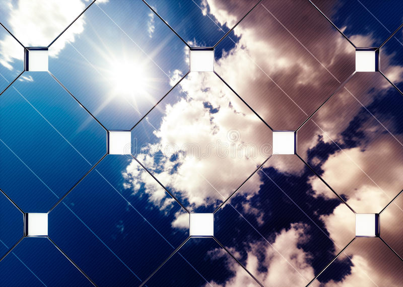 Solar energy advancement concept. Cloudy blue sky reflection in graph. Solar energy advancement concept. 3d rendering stock illustration