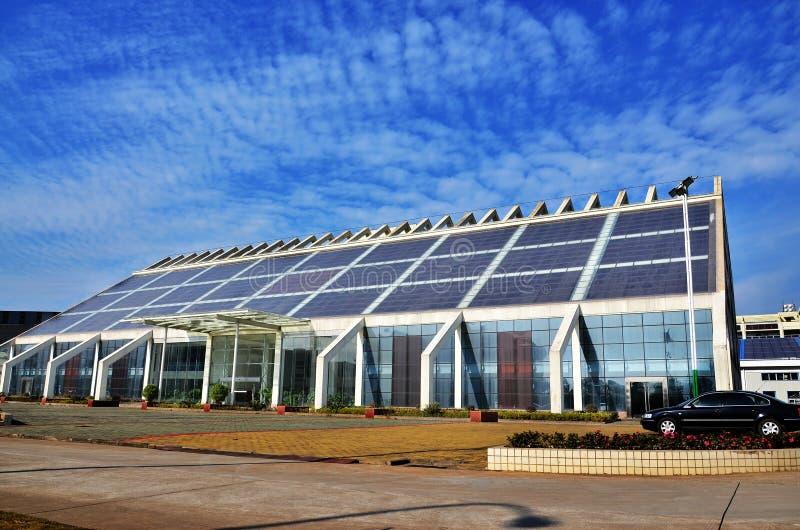 Solar energy building royalty free stock photo