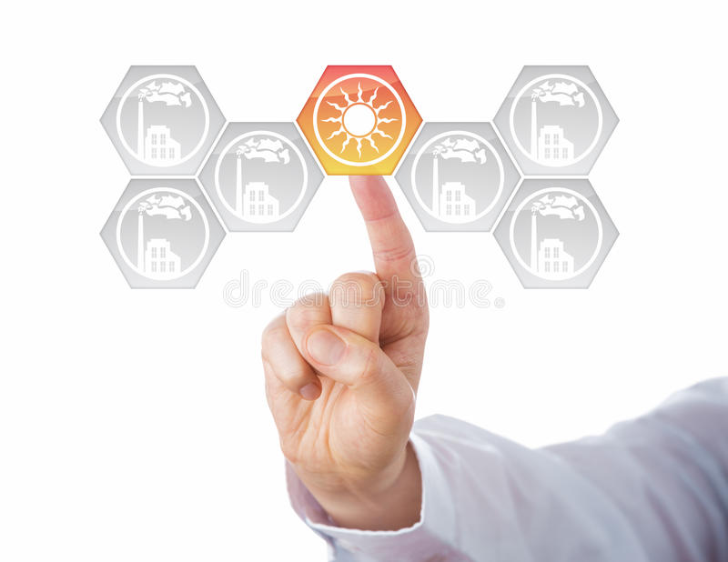 Solar Energy At Center Of Energy Turn Metaphor. Solar energy button activated in a virtual interface full of smoking factory icons. Metaphor for energy stock images