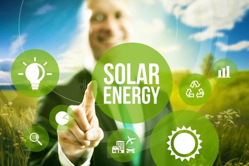 Solar energy concept. Solar energy business model concept stock image