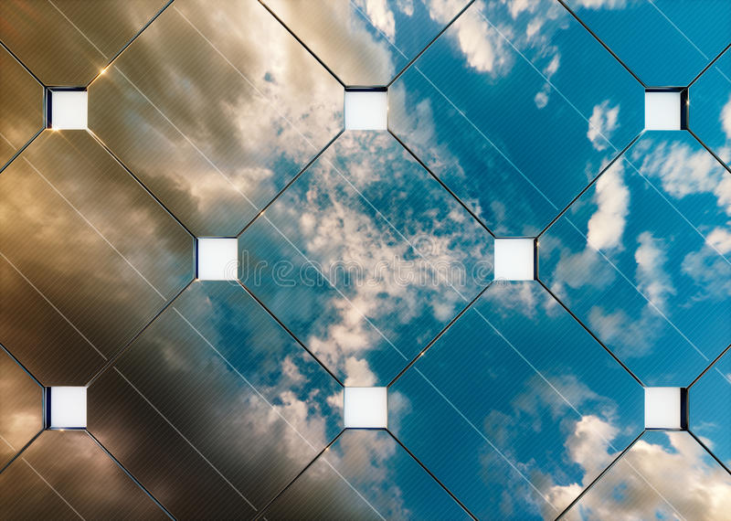 Solar energy concept. Evening sky reflection on photovoltaic panel. royalty free illustration