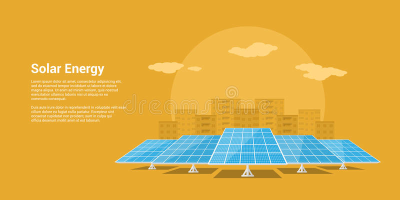 Solar energy concept. Picture of solar batteries with mountains city silhouette on background, flat style concept of renewable solar energy stock illustration