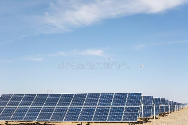 Solar energy on gobi desert stock photo