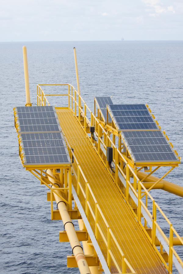 Free Solar Energy Is A Green Power, Solar Cell For Generate Power For Supply Electrical Equipment In Offshore Oil And Gas Platform Royalty Free Stock Photos - 44522158