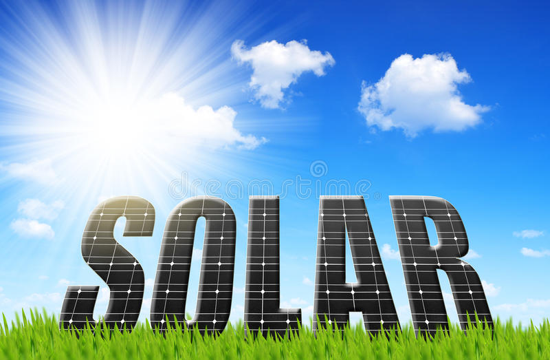 Solar energy panels on meadow. stock photography
