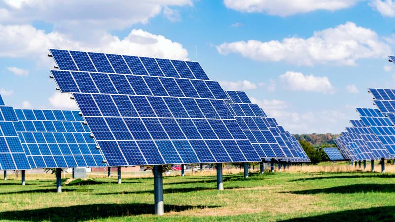 Solar energy panels . Solar panel . Solar photovoltaics panels . Modern solar panels . Solar energy royalty free stock photos