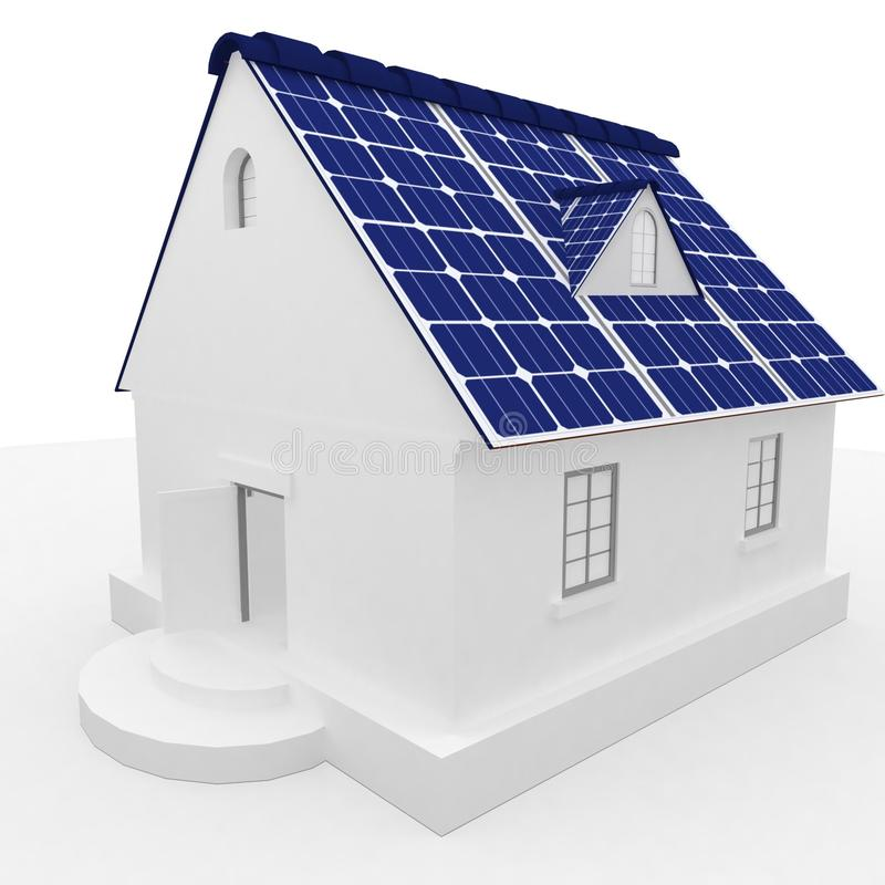 Solar energy panels on a roof of house. royalty free illustration