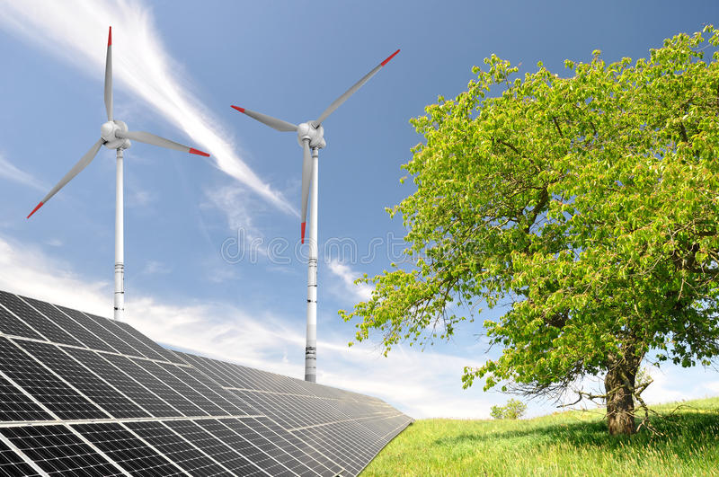 Download Solar Energy Panels And Wind Turbine Stock Image - Image: 22539991