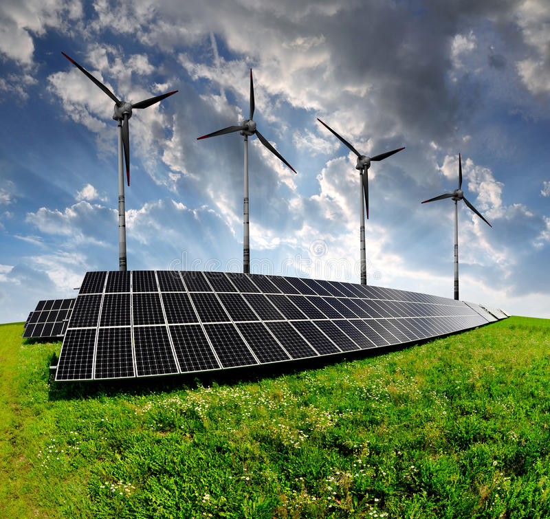 Download Solar Energy Panels With Wind Turbines Stock Photo - Image: 39239560