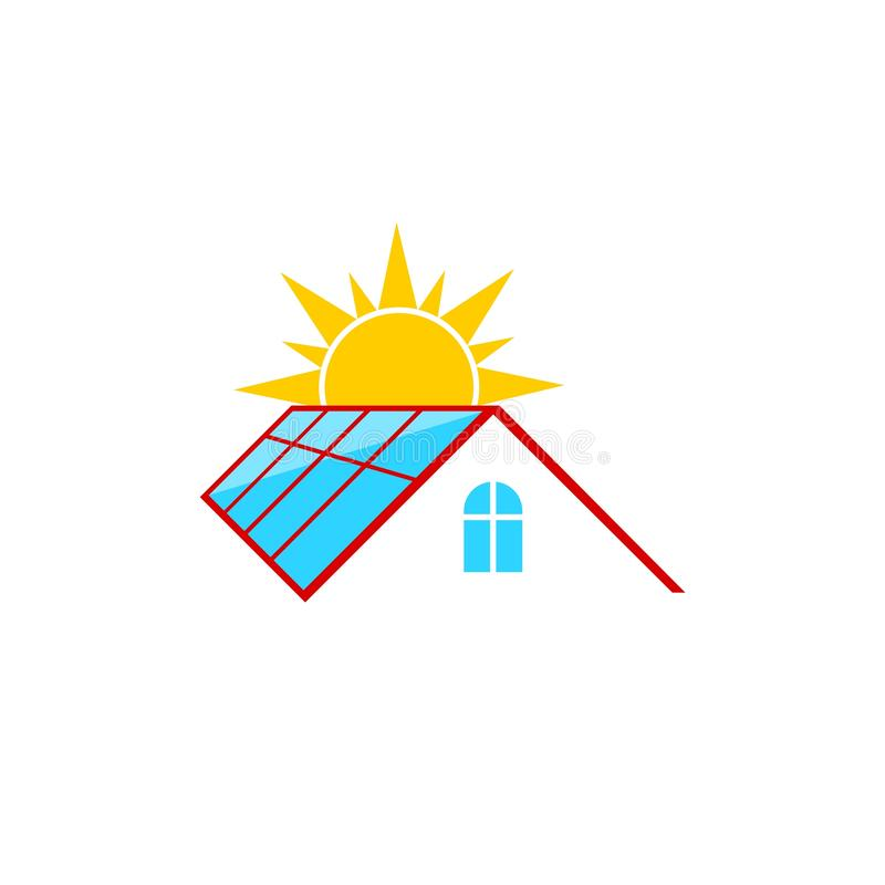 Solar energy powered house logo icon royalty free stock photos