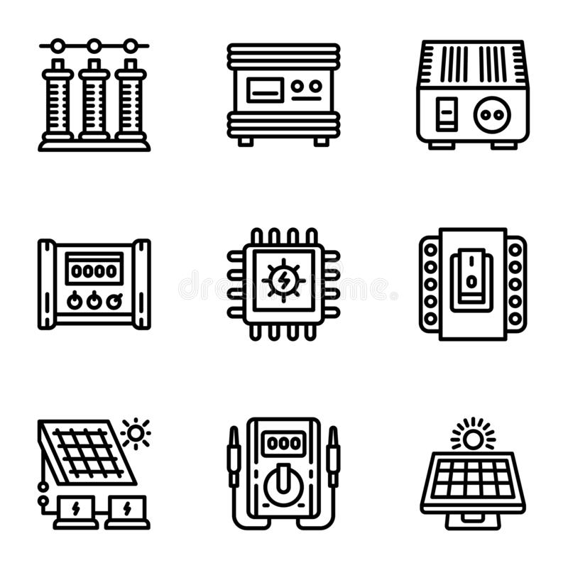 Solar energy supply icon set, outline style vector illustration