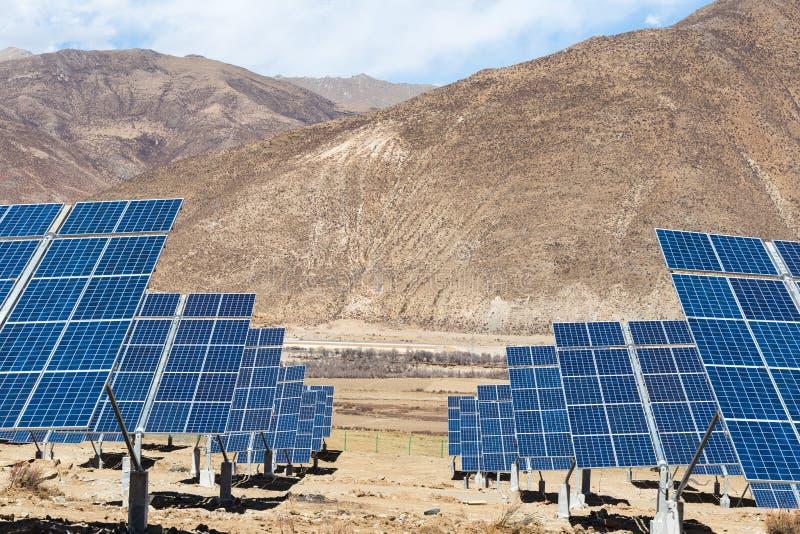 Solar energy in tibetan plateau stock photos