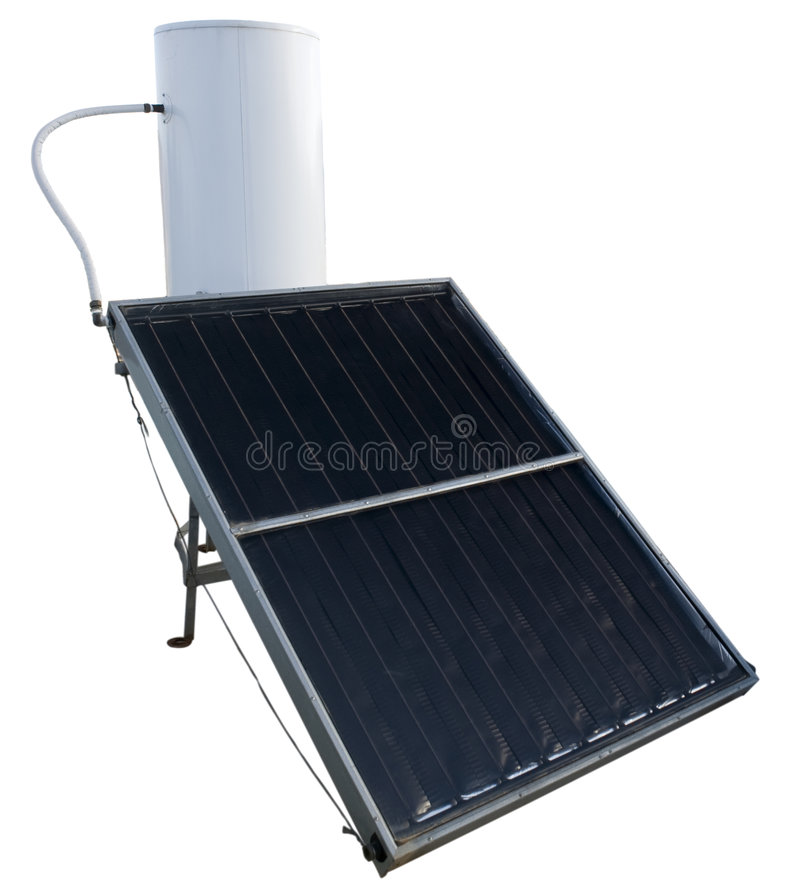 Solar energy water heater. Isolated on white royalty free stock images