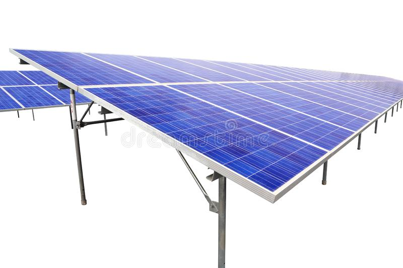 Solar farm eco photovoltaic power station on stone yard. A photovoltaic power station,is a photovoltaic system designed for the supply of merchant power into the royalty free stock image