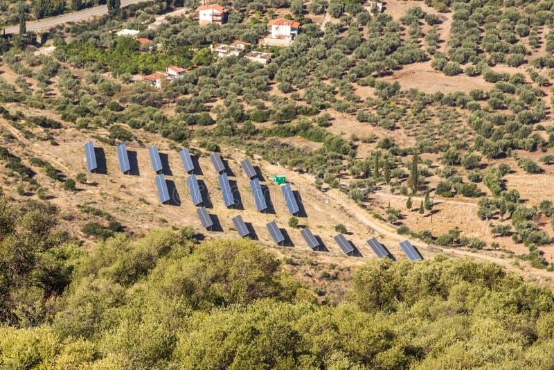 Solar field on Greece. stock photos