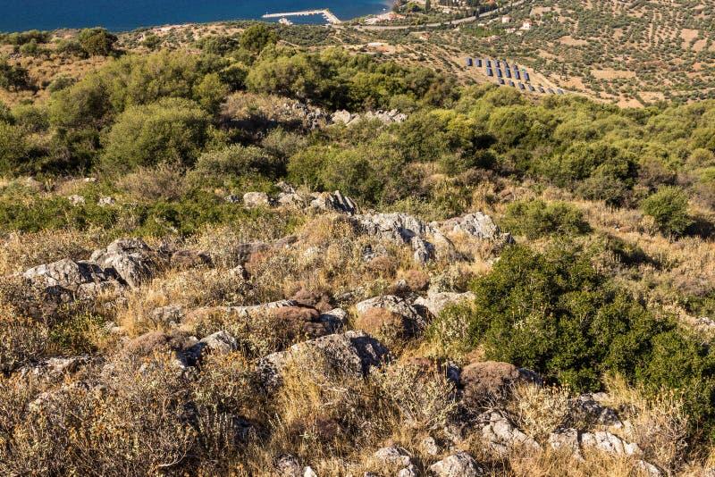 Solar field on Greece. stock photo