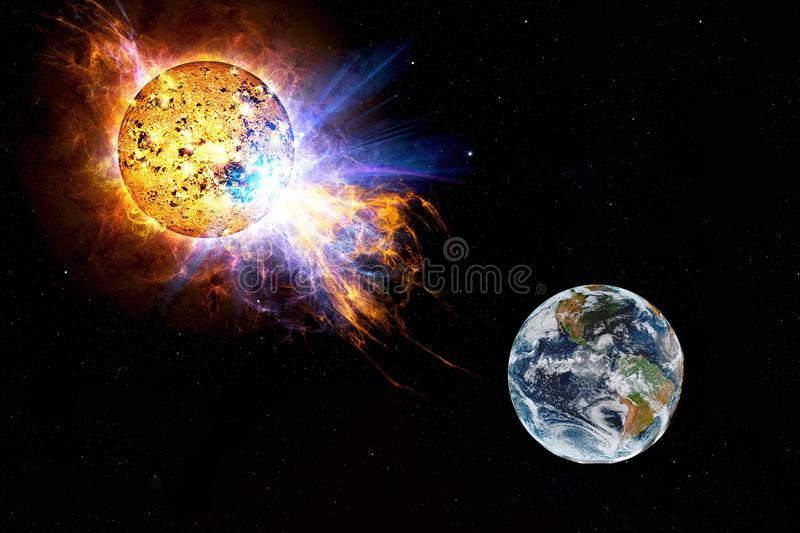 Solar flare flying towards Earth. the sun attacks earth. stock illustration