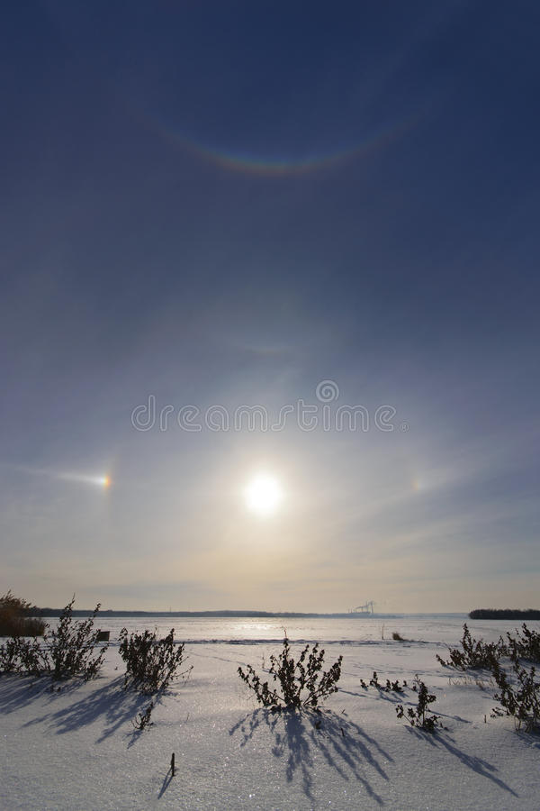 Solar halo. In the morning on the river Dnepr Dnepropetrovsk Ukraine stock photography