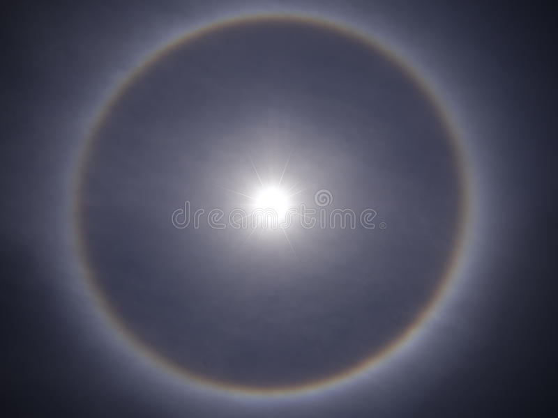 Solar halo. Nature optical phenomenon royalty free stock image