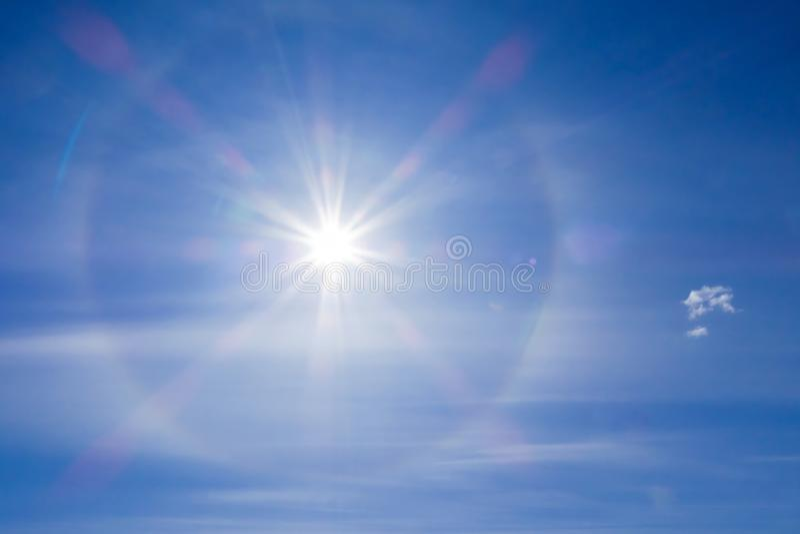 Solar halo phenomenon. Spiritual halo phenomenon. Natural phenomenon Sun halo. Fantastic beautiful sun halo phenomenon. Amazing sun halo phenomenon royalty free stock photos