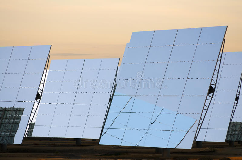 Solar heliostats. Deatil view of solar heliostats royalty free stock photography