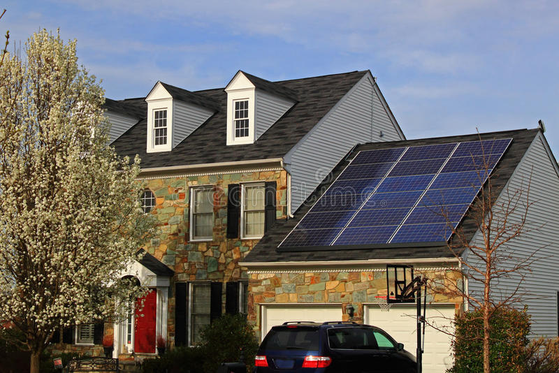 Solar House. In flowering Spring time royalty free stock images
