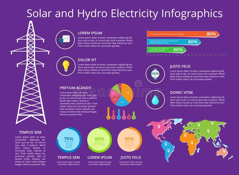 Solar and Hydro Electricity Vector Illustration stock illustration