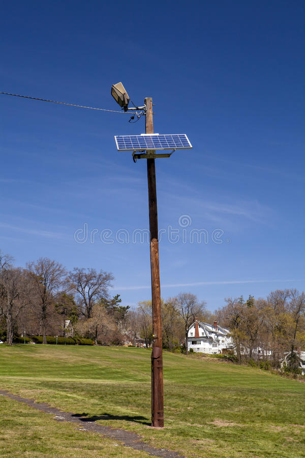 Solar Light Pole. A solar light pole at Flood's Hill in New Jersey stock image