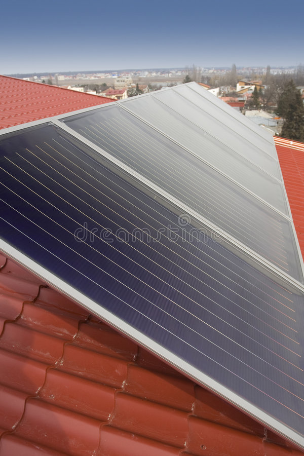 Solar panel. On a house roof stock photo